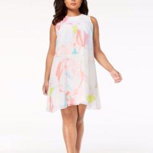 Calvin Klein Water Color Chiffon Dress